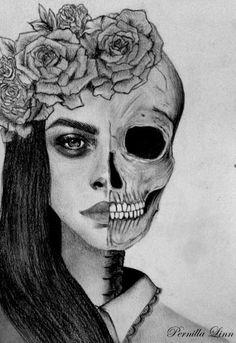 Half Skull Half Face Drawing Art In 2019 Pinterest Half Face