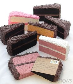 Turn a sponge into a piece of cake postcard - how fun would it be to get this in your mailbox??