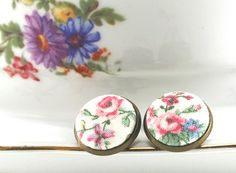 Stud Earrings  Cottage Roses Earring Studs by PatchworkMillJewelry