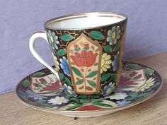 Antique 1800's Royal Vienna demitasse Teacup and Saucer