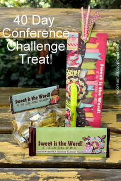 """Free printable candy bar wrapper, fold-over bag topper, or a """"sweet"""" bookmark. To go along with the 40 day conference reading challenge for The Church of Jesus Christ of Latter Day Saints. Visiting Teaching Gifts, Candy Labels, Candy Wrappers, Lds Seminary, Youth Conference, Kids Church, Church Ideas, Diy Crafts For Gifts, Reading Challenge"""
