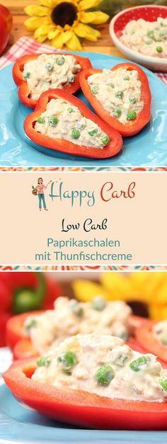 Pepper dishes with tuna cream - happy carb recipes - Low Carb Abendessen - A quick and delicious dinner. Low carb, no carbohydrates, gluten free, low carb recipes, low carb f - Sugar Free Diet, Sugar Free Recipes, Low Carb Recipes, Dieta Atkins, Law Carb, Keto, No Sugar Foods, Le Diner, Quick Meals