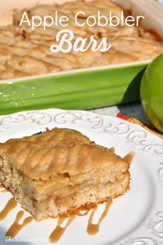 Apple Cobbler Bars: cinnamon pecan shortbread crust, apple pie filling ...