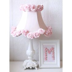 A Vintage Room | Pink Dupioni Silk & Roses Table Lamp