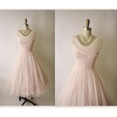 50's Chiffon Dress // Vintage 1950's Ruched Pink Chiffon Wedding Party Prom Dress Tea Gown XS S. $148.00, via Etsy.