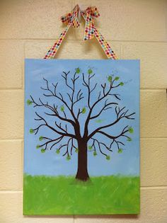 I had my kiddos do this for parent volunteer gifts.  I like the idea to have each class add their prints in different colors every year and have a key on the back with my print!  =)