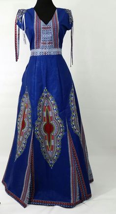 African print Maxi Dress ,blue Dashiki Maxi dress,Ankara dashiki dress ,African…