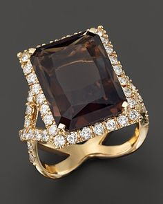 Smokey Topaz and Diamond Statement Ring in 14K Yellow Gold | Bloomingdale's