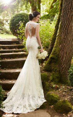 Lace wedding dress idea - fit-and-flare dress with cap sleeves, deep neckline and lace, illusion back. Style 847 by Find more gown inspiration by Martina Liana on Spring 2017 Wedding Dresses, Fit And Flare Wedding Dress, Classic Wedding Dress, Wedding Dress Sleeves, Designer Wedding Dresses, Bridal Dresses, Wedding Gowns, Wedding Bride, Wedding Dress Pictures
