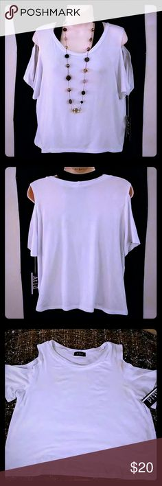 "Cold Shoulder Top ""Atid Clothing's,"" Gen Cold Shoulder Crop top in white. Perfect with everything this Summer. 92% Polyester. 4% Lycra. 4% Spandex. Wash cold and lay flat to dry. Made in LA. Atid Clothing Tops"