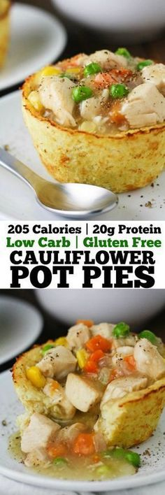 These Low Carb Cauliflower Pot Pies have all the flavors of a traditional chicke.These Low Carb Cauliflower Pot Pies have all the flavors of a traditional chicken pot pie in guilt free form! Gluten free, low calorie and delicious! Gluten Free Recipes, Low Carb Recipes, Diet Recipes, Chicken Recipes, Cooking Recipes, Healthy Recipes, Recipies, Bariatric Recipes, Bariatric Eating