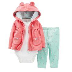 Amazon.com: Carter's Baby Girls 3-Piece Animal Microfleece Hooded Cardigan Set: Clothing