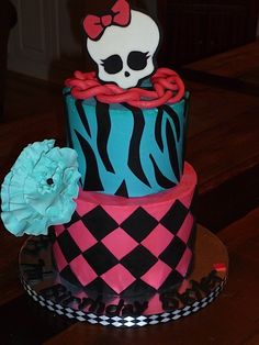 Monster High Birthday Every cake looks better with a BIG edible flower...  I try to find a place for one on every cake I make! #monsterhigh #birthdaycake