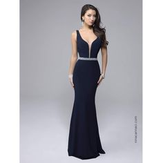 Nina Canacci Navy Blue Fitted Sexy Long Dress (€190) ❤ liked on Polyvore featuring dresses, gowns, multicolor, cocktail dresses, navy blue cocktail dress, evening gowns, sheer evening gown and navy blue evening dress