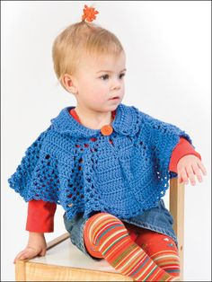 Lil Collar Poncho- free- easy Lacy and solid panels are worked all in one piece in a sweet capelet-style poncho finished at collar and bottom edge with a crocheted lacy trim. This e-pattern was originally published in Little One's Ponchos