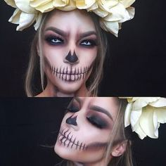 Smoked out skull makeup. Are you looking for easy pretty Halloween makeup ideas for women to look the best at the Halloween party? See our photo collage to pick the one that fits the Halloween costume. Halloween Makeup Sugar Skull, Cute Halloween Makeup, Pretty Halloween, Halloween Kostüm, Couple Halloween, Halloween Costumes, Vintage Halloween, Women Halloween, Skeleton Costumes