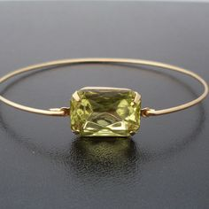 Bangle Bracelet Leona - Gold Tone, Green Stone $13.95