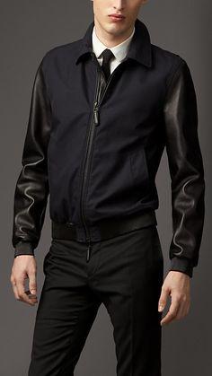 Burberry London Leather Sleeve Cotton Gabardine Blouson #wherefashionhappens #style #leather