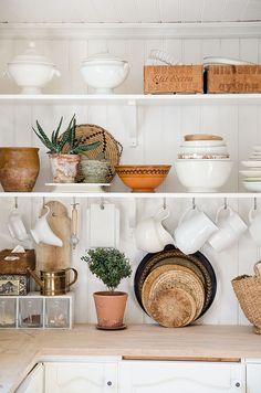 Flea bargain hunting porcelain on the shelves