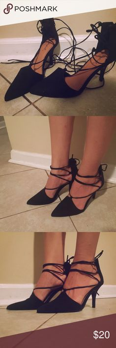 Black Tie Around Heels  New, have only been tried on. Very comfortable shoes. No box Shoes Heels
