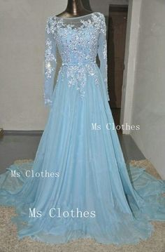 Custom Made Blue Long Sleeve Lace Wedding Dresses by MsClothes | this almost looks like elsa's dress