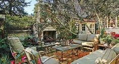 Gorgeous Spanish meets Shabby Chic outdoor fireplace in LA.