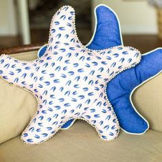 Starfish Pillows pattern Sew4Home Quilter's Cotton from Underwater by Elizabeth Olwen for Cloud9 Fabrics