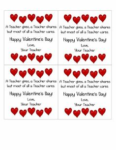 Valentine's Day Card from the Teacher