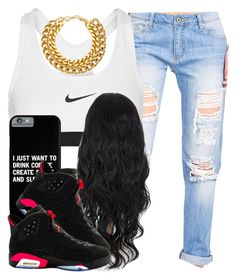 . by trillest-queen on Polyvore featuring polyvore, fashion, style, NIKE and A.V. Max