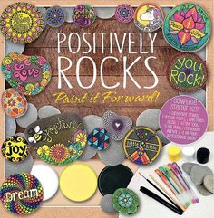 Positively Rocks - rock painting book and craft kit. This would make a great gift or a kit for newbies to get started painting rocks. Rock Painting Supplies, Rock Painting Ideas Easy, Rock Painting Designs, Dot Painting, Acrylic Paintings, Stone Painting, Inspirational Rocks, Kindness Rocks, Painted Books