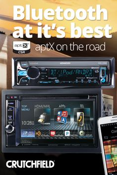 Get more detail and clarity from wireless music in your car. Read the article to find out all about aptX. Custom Car Audio, Custom Cars, Kenwood Audio, Android Radio, Cool Tech, Audio System, Car Accessories, Clarity, Improve Yourself