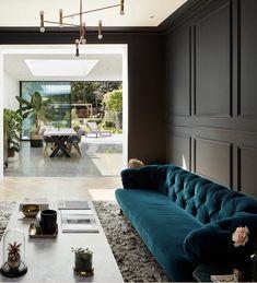 Velvet living room decor is your next favorite trend! Interior Design Living Room, Living Room Designs, Living Room Decor, Living Room Ideas 2020, Dark Living Rooms, Cozy Living, Living Area, Home Modern, House Ideas