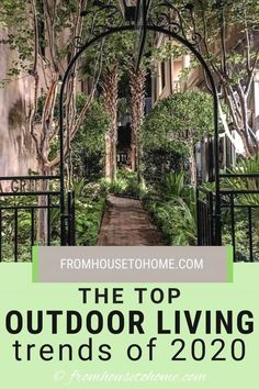 If you're wondering how to decorate your outdoor living space, then read these awesome trends. They're helpful ideas for unique outdoor living areas. I am so saving these outdoor patio ideas to try myself soon!! #fromhousetohome #2020trends #outdoorliving #garden #outdoordecor #homedecortrends Garden Arbor, Lush Garden, Shade Garden, Big Garden, Garden Path, Outdoor Garden Rooms, Outdoor Decor, Outdoor Patios, Outdoor Kitchen Bars