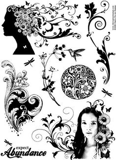 decorative floral rubber stamps