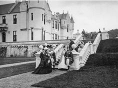 Queen Victoria 1819 - 1901 with five of her children at Balmoral in Scotland, 1868.