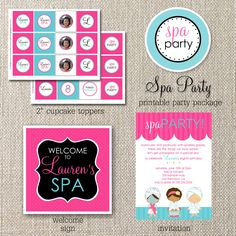spa party ideas for girls birthday | spa party – diy printable birthday party package spa party ...