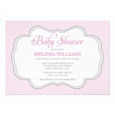 Soft Pink Chevron Gray Frame Baby Shower Invite
