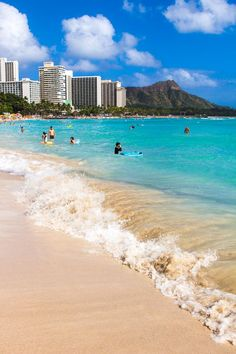 Places to visit in Hawaii. Waikiki Beach is a must visit on Oahu. Beautiful city beach. #Hawaii #Oahu #travel
