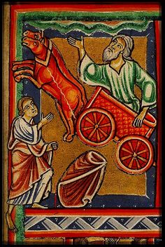 Elijah taken up to Heaven in Chariot. France 1290-1300. miniature. Koninklijke Bib.