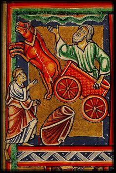 Elijah taken up to Heaven in Chariot. France 1290-1300. miniature. Koninklijke Bib.