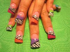 colored zebra - Nail Art Gallery
