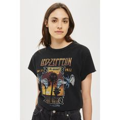 Led Zeppelin Tour T-Shirt by and Finally ($32) ❤ liked on Polyvore featuring tops, t-shirts, cotton t shirts and cotton tees