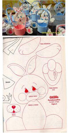 Geniales canastitas porta huevos de pascua, hechas en goma eva. El patrón también está disponible por si quieren hacerlas.