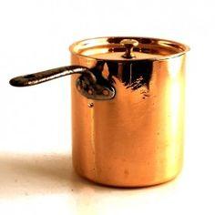 "xx-I.1.54. SOLD! British, Georgian (c. 1800). Handmade, dovetailed seams, re-tinned. Diameter: 5 1/4."" Depth: 5 1/2."" Weight: 1 lb. 12 oz."