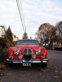 Red Classic Car car Cars Jaguar by Karin Lauria