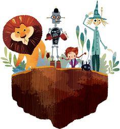 Frank Baum - The Wonderful Wizard of Oz Unabridged edition by Usbourne Children's Books, 2014 Artwork by Lorena Alvarez Art And Illustration, Character Illustration, Fable, Wizard Of Oz, Conte, Art Plastique, Art For Kids, Concept Art, Art Photography