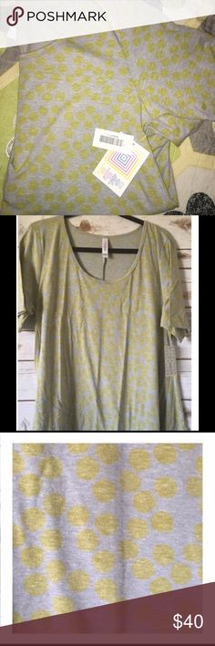 LuLaRoe Perfect T Brand new with tags attached just received and I have the exact same one so I purchased this Top twice selling for what I paid short is Large new with tags it's Heather gray with lemon color polka dots so cute!! LuLaRoe Tops Tees - Short Sleeve