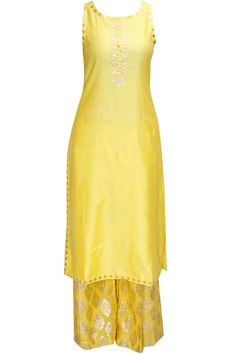 Yellow and neon pink gota patti work kurta set by Amrita Thakur  Shop now:http://www.perniaspopupshop.com/designers/amrita-thakur #shopnow #amritathakur #perniaspopupshop