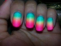Tropical Summer Neon Gradient! #gradient #ombre #gradientnails #ombrenails #ilovegradients #chinaglaze #neon #summer #nailart #ilovenailart