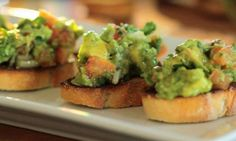 Bruschetta is an Italian classic, full of tomato and basil goodness, and is the perfect appetizer or light meal. Fun fact: Bruschetta is pronounced 'Broo-ske. Mexican Food Recipes, Beef Recipes, Real Food Recipes, Great Recipes, Cooking Recipes, Favorite Recipes, Avocado Bruschetta Recipe, Avocado Recipes, Avocado Salad